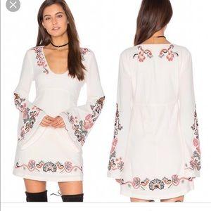 Folk Embroidered Long Sleeve Dress